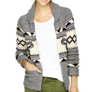 TNA Aritzia Sea to Sky Lambswool Grey Cowichan Sweater Zip Up Knit Size Medium